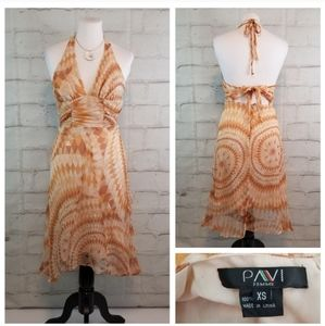 Pavi XS Peach Silk Halter Tie-Back Midi Dress